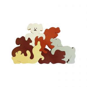 Large dogs wood animal puzzle natural colours