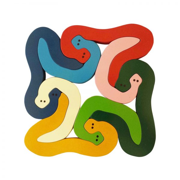 Large snakes wooden animal puzzle primary colours