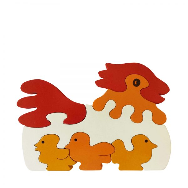 wooden animal puzzle chicken natural colours