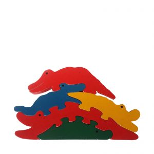 crocodile wooden animal puzzle primary colours