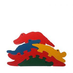 crocodile wooden animal puzzle primary colours