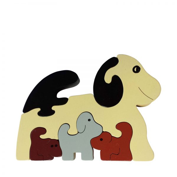 dog wooden animal puzzle natural colours