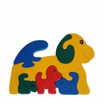 Dog wooden animal puzzle primary colours