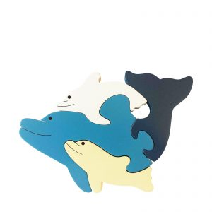 dolphin wooden animal puzzle natural colours