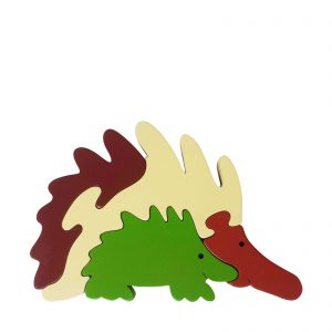 echidna wooden animal puzzle natural colours
