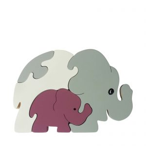 elephant wooden animal puzzle natural colours