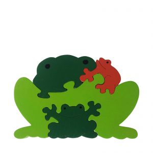 frog wooden animal puzzle natural colours