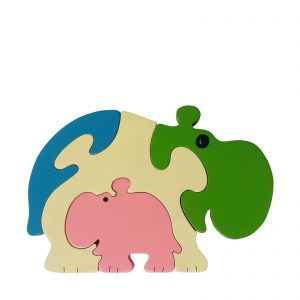 hippopotamus wooden animal puzzle pastel colours