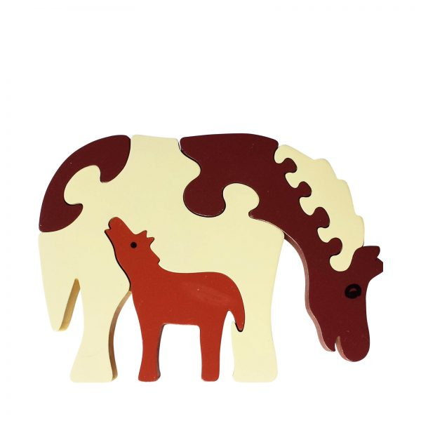 horse wooden animal puzzle natural colours