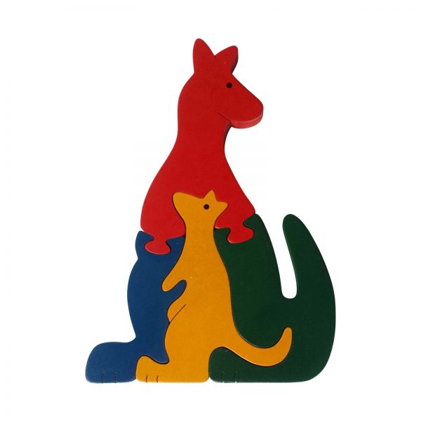 kangaroo wooden animal puzzle primary colours