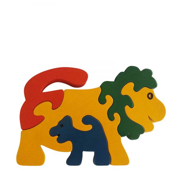 lion wooden animal puzzle primary colours