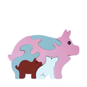 pig wooden animal puzzle natural colours