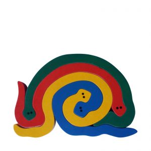Snake wooden animal puzzle primary colours