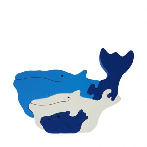 whale wooden animal puzzle natural colours