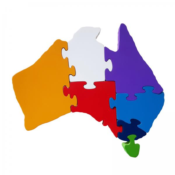 Wooden Australia puzzle state colours